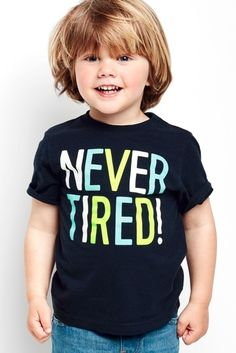 "Toddler boys' fashion | Kids' clothes | ""Never Tired!"" 