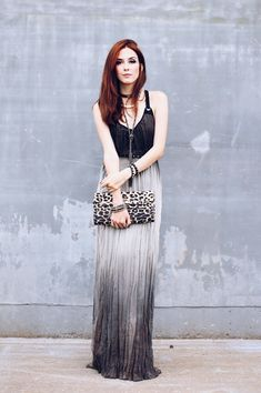 Rocker chic outfit wearing a gorgeous ombré long dress from Shoulder. I added 3 different necklaces and a leopard printed clutch.