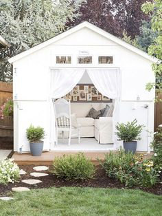 10 gorgeous DIY she shed makeover ideas. These ladies turned a tool shed into a backyard retreat. See these awesome shed makeovers, including office space, backyard entertainment, reading shed and more. by luella Backyard Sheds, Backyard Retreat, Garden Sheds, Backyard Storage, Backyard Studio, Outdoor Storage, Outdoor Retreat, Outdoor Spaces, Outdoor Living