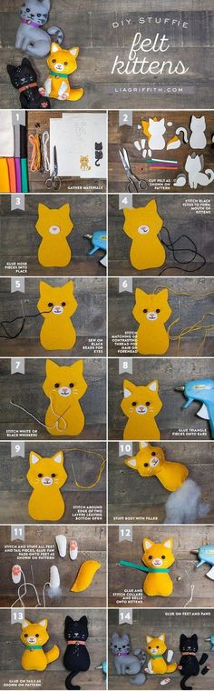 Make your own super-cute felt craft cats with these simple yet stunning patterns by handcrafted lifestyle expert Lia Griffith. Make your own super-cute felt craft cats with these simple yet stunning patterns by handcrafted lifestyle expert Lia Griffith. Felt Crafts Diy, Cat Crafts, Sewing Crafts, Sewing Projects, Craft Projects, Felt Projects, Animal Crafts, Fabric Crafts, Ideal Toys