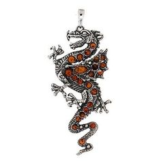 Large Brown Gold Amber Dragon Pendant Sterling Silver Necklace Jewelry Mystical