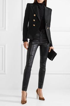 Balmain Double-breasted Wool-twill Blazer - Black Source by blazer outfits Leather Pants Outfit, Black Leather Pants, Leather Blazer, Look Fashion, Winter Fashion, Fashion Outfits, Womens Fashion, Fashion Boots, Looks Street Style