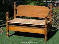 Como transformar uma cama antiga em um banco de jardim