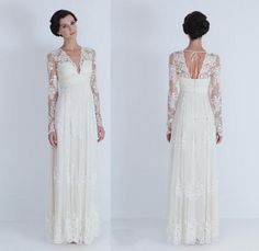 2016 Vintage Boho Lace Wedding Dresses With Long Sleeves See Through Neck Empire Waist V Neck Floor Length Beach Bohemian Bridal Gowns Indian Wedding Dresses Long Sleeve Wedding Dresses From Jovancy, $115.92| Dhgate.Com