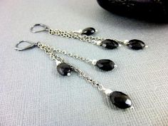 """Black Spinel Chakra Earrings, Shoulder Dusters, Sterling Silver  