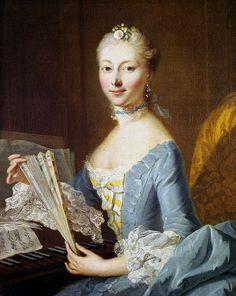 Unbekannte Dame am Spinett - Johann Heinrich Tischbein d.Ä. (1753)