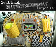 DIY Seat Back Entertainment Organizer. Love this!