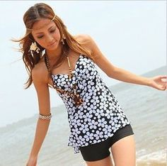 Modest tankini with shorts                                                                                                                                                     Plus