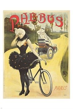 vintage FRENCH CYCLE ad poster BALLET TUTU exceptional SINGULAR ART 24X36