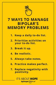 Memory problems,a common symptom of bipolar, make it hard to succeed at work or accomplish tasks at home. Here's how memory experts suggest you cope: Mental Health Recovery, Mental Health Journal, Mental Health Conditions, Mental And Emotional Health, Mental Health Quotes, Mental Health Awareness, Bipolar Symptoms, Bipolar Help, Bipolar Awareness
