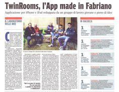    TWINROOMS    14 maggio 2013. Articolo del Corriere Adriatico sull'app del momento: Twinrooms!
