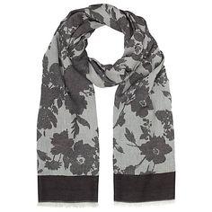 Buy John Lewis Jacquard Floral Print Scarf, Black Online at johnlewis.com