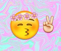 flower crown kissy face emoji and peace sign emoji w/ blue and pink water marble background