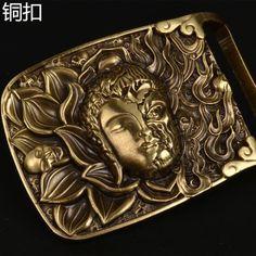 695e8b044580 Mens pur solide en laiton plaque ceinture boucle Hommes de cuivre plaque  lisse boucle ceinture boucle dans Boucles et Crochets de Maison   Jardin  sur ...