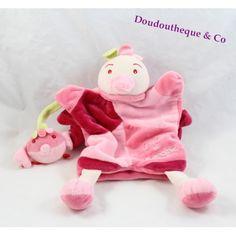 Doudou marionnette poule DOUDOU ET COMPAGNIE rose poussin 27 cm
