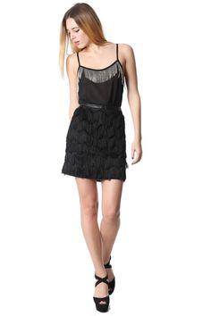 Minifalda negra con flecos suave al tacto