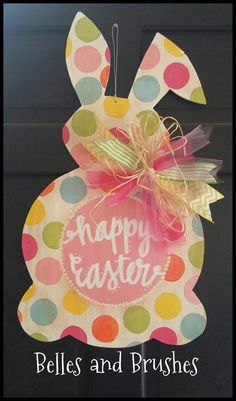 Easter bunny door hanger by BellesandBrushes on Etsy