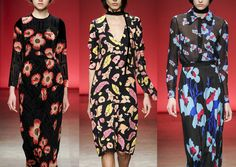 New York Fashion Week   Autumn/Winter 2014/2015   Tocca - Scattered Floral Heads - Simple Leaf cut outs - Pressed Flower Patterns - Collaged Petal Prints - Dark Backgrounds - Stylised Florals - Unusual Colour Palettes - Bold Floral Styles