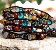 Leather wrap bracelet 5X stacking bracelet colorful by chashway, $85.00