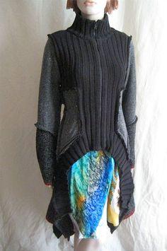 RESERVED Black Gray Upcycled Recycled Ragamuffin Cardigan Coat CUSTOM ORDER FOR LORIANNHUDMade in England UK