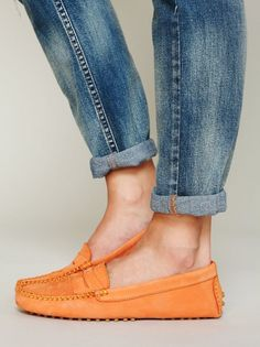 Casual Orange Moccasins Shoe