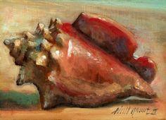 Concha Concha, Florida orilla del mar 5 x 7 al óleo original en el panel de molino SALA II, pintura original del artista Salón de Granos II | DailyPainters.com