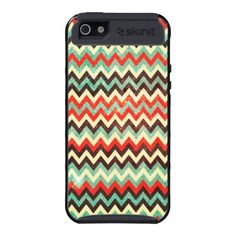Modern and trendy iPhone 5 phone case features an maroon ,green, brown & and cream zigzag chevron stripe pattern. Cute and unique design and a perfect cool gift idea for her / him or anyone on any occasion