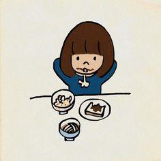 #おなかいっぱい  #いろいろ食べて少しずつ残す #イラスト