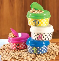 Cereal in color/spotted containers.place to buy stuff to vinyl Embroidery Blanks, Embroidery Monogram, Machine Embroidery, Vinyl Crafts, Vinyl Projects, Blanks For Vinyl Wholesale, Snack Containers, Embroidery Supplies, Silhouette Cameo Projects