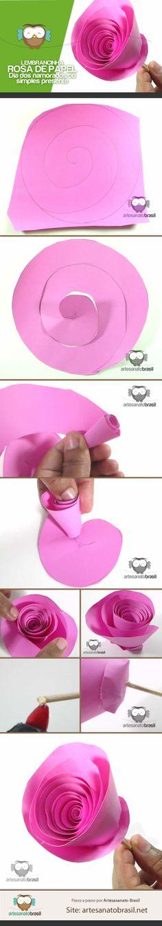 Lembrancinha de rosa de papel  para Dia das mães ou dia dos namorados