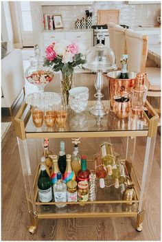 """Visit our internet site for additional information on """"gold bar cart decor"""". It is an exceptional area to learn more. Home Bar Decor, Bar Cart Decor, Ikea Bar Cart, Diy Bar Cart, Bar Sala, Gold Bar Cart, Bar Cart Styling, Spring Home, Bar Furniture"""