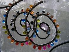 Große Creolen,Lebenswege,bunte Spirale,schrill von kunstpause auf DaWanda.com