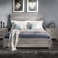 Montauk Panel Bed - beautiful wood bed frame in rustic grey Farmhouse Bedroom Decor, Home Decor Bedroom, Master Bedroom, Rustic Grey Bedroom, King Bedroom Sets, Ideas For Bedroom Walls, Rustic Wood Headboard, Bedroom 2017, Bedroom Frames