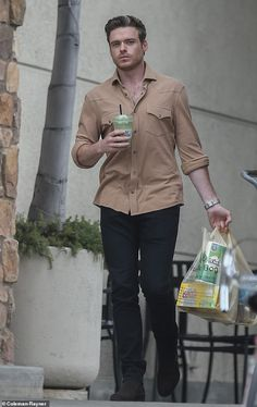 Brooding: Richard Madden looked a vision of health as he strolled along the streets of Los. Hot Actors, Actors & Actresses, Richard Madden Shirtless, Gray Streaks, James Norton, Los Angeles Shopping, Scottish Actors, Daniel Craig, Attractive Men