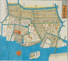 """Owariya version,Partial Map of Edo Tsukiji Hatchobori Nihonbashi Ezu (Tsukiji Hatchobori Nihonbashi Map) 1857. The district name, """"Ginza"""" originated from the Ginza Yakusho (government office) in the Edo period. In 1603, the Edo Shogunate founded by Tokugawa Ieyasu moved the silver coin mint from Sunpu to its current location of Ginza 2-Chome. The town's official name was Shin-ryogae-cho (meaning """"new money exchange town""""), but it came to be known colloquially as """"Ginza."""""""