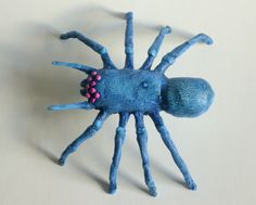 Blue spider with Red eyes