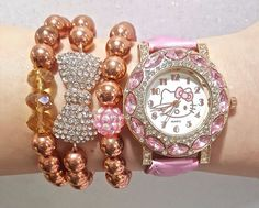 5d76de69f Hello Kitty Watch and Swarovski Bead Bracelets Arm Candy Set in gift box