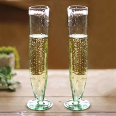 Recycled Glass Champagne Flutes