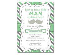 Mustache Baby Shower Invitation – Custom colors. Baby boy baby shower.