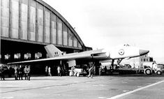 The nosewheel was put up on a trolley to drop the tailplane the rear radome and top of the tail were removed and it made it by three inches! Military Jets, Military Aircraft, V Force, Avro Vulcan, Delta Wing, Thunder And Lightning, Navy Aircraft, Royal Air Force, Royal Navy