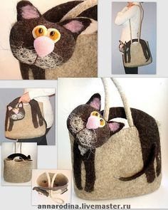 Felted Cat Bag::love it! Nuno Felting, Needle Felting, Felt Purse, Cat Bag, Felt Cat, Felt Animals, Wool Felt, Purses And Bags, Reusable Tote Bags