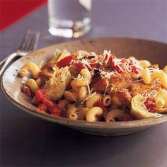 Pan-Seared Chicken with Artichokes and Pasta | MyRecipes.com