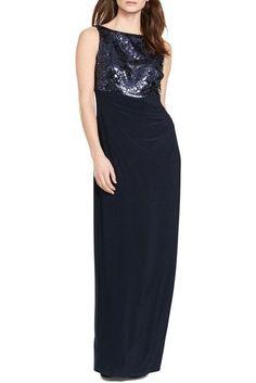 Lauren Ralph Lauren Sequin Jersey Gown