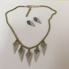 BCBG crystal spike necklace & earrings Subtle punk two-tone necklace and earrings. Gold colored box chain with pave crystal  dangles. Gently worn. Earrings have some scratches. BCBGeneration Jewelry Necklaces