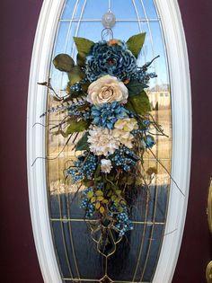 Spring Wreath Summer Wreath Mothers Day Teardrop Door Twig Swag Vertical Decor via Etsy