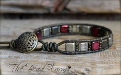 This comfortable and lovely bracelet features genuine 6mm Czechmate tile beads and Toho 11/0 seed beads that are hand-stitched (wrapped) to leather using 2 strands of strong beading thread. The leather is a really nice soft and supple natural dye dark brown 1.5mm. The tile beads are