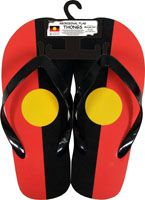 Aboriginal Flag Thongs  Available in 3 sizes  Small - (Size 2-4) (20cm) Medium (Size 6-8) (25cm) Large (Size 10-12) (30cm) Price:  $15.00 each OR  2-10 pairs @ $14.00 each Or 10 + PAIRS @ $12.50