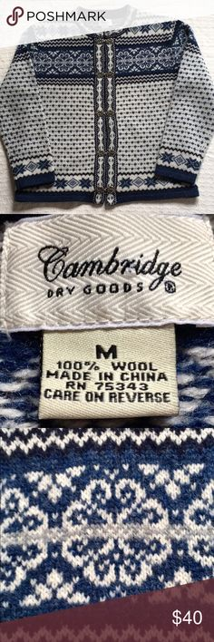 """CAMBRIDGE DRY GOODS 100% WOOL CARDIGAN ....This beautiful cardigan is flattering, comfortable, and well-made. Pewter clasps. Excellent condition. Fair isle print  Armpit to armpit measures approximately 22""""  Length is 25"""" Cambridge Dry Goods Sweaters Cardigans"""