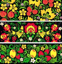 Set Of Seamless Patterns In Traditional Russian Style Hohloma Royalty Free Cliparts, Vectors, And Stock Illustration. Pic 16633957.