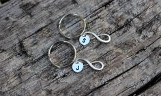 Infinity Initials Keychain  Couples His & by 4EverAlwaysDesigns